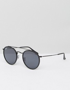 Черные круглые солнцезащитные очки с двойной планкой сверху Ray-Ban 0RB3647N - Черный
