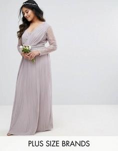 Плиссированное платье макси с длинными рукавами, кружевными вставками и отделкой на талии TFNC Plus Wedding - Серый