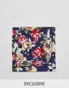Платок для пиджака с цветочным принтом Reclaimed Vintage Inspired - Синий