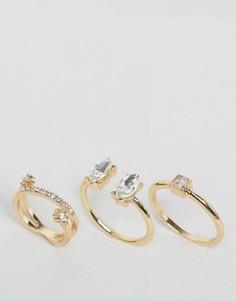 3 золотистых кольца с камнями ASOS - Золотой