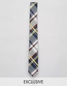 Узкий галстук в клетку Reclaimed Vintage - Синий