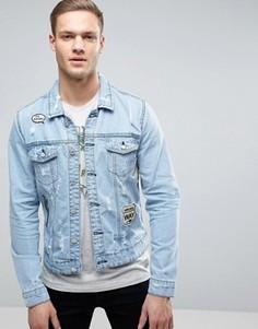 Джинсовая куртка с нашивками Only & Sons - Синий