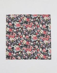 Платок для пиджака с цветочным принтом ASOS - Черный