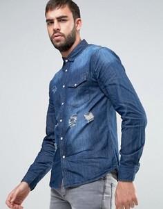 Выбеленная джинсовая рубашка с потертой отделкой Dead Vintage - Синий