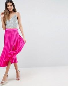 Атласная плиссированная юбка миди с разрезом ASOS - Розовый