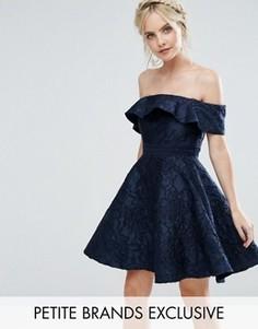 Фактурное приталенное платье мини для выпускного Chi Chi London Petite - Темно-синий