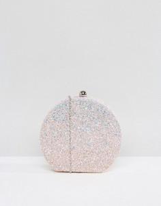 Круглый клатч с блестками Chi Chi London - Розовый