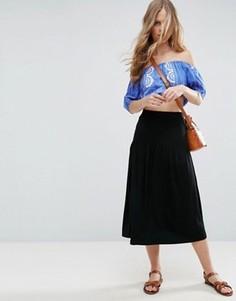 Трикотажная юбка миди с лифом в стиле корсета ASOS - Черный
