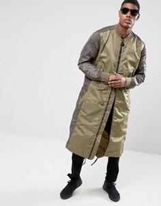 Удлиненная куртка с асимметричным краем Maharishi MA1 - Зеленый