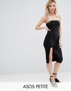 Облегающее платье миди без бретелек ASOS PETITE - Черный