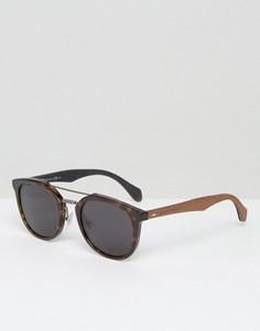 Круглые солнцезащитные очки с черепаховой отделкой и двойной планкой сверху BOSS by Hugo Boss - Коричневый