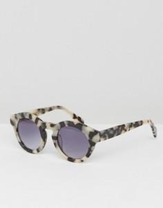 Солнцезащитные очки в круглой оправе Pieces - Кремовый