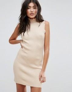 Фактурное облегающее платье с высокой горловиной Endless Rose - Розовый