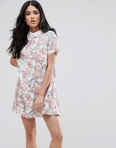 Цельнокройное платье с коротким рукавом, цветочным принтом и отделкой на воротнике Endless Rose - Розовый