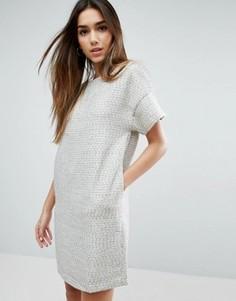 Фактурное цельнокройное платье Traffic People - Серый