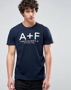 Темно-синяя обтягивающая футболка с аппликацией A+F Abercrombie & Fitch - Темно-синий