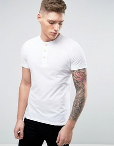 Белая обтягивающая футболка хенли с манжетами в рубчик Abercrombie & Fitch - Белый