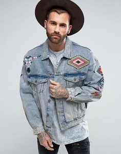 Выбеленная синяя джинсовая куртка в стиле oversize ASOS - Синий