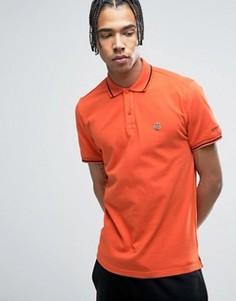 Рубашка-поло с контрастным воротником и логотипом на груди Love Moschino - Оранжевый