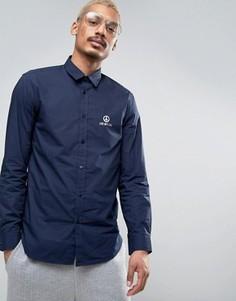 Рубашка с логотипом металлик на груди Love Moschino - Темно-синий