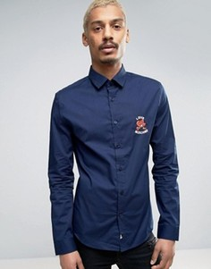 Рубашка с вышивкой на груди Love Moschino - Темно-синий