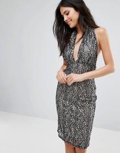 Кружевное платье-футляр с бретелью через шею Love - Мульти