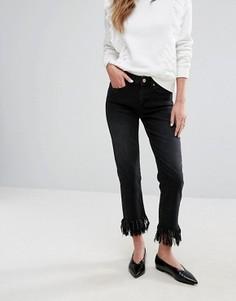 Укороченные джинсы с бахромой Miss Selfridge - Черный