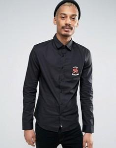 Рубашка с вышивкой на груди Love Moschino - Черный