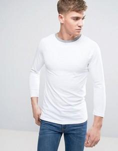 Облегающая футболка из белого/серого меланжа с рукавами реглан и контрастной отделкой на воротнике ASOS - Белый
