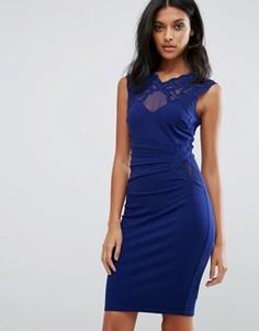 Платье-футляр с кружевом Lipsy - Темно-синий