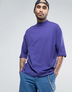 Свободная футболка с высоким воротом ASOS - Фиолетовый