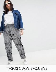 Бархатные брюки галифе без застежки ASOS CURVE - Синий