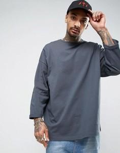 Свободная серая футболка с рукавами длиной 3/4 ASOS - Серый