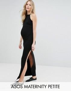 Платье макси с высоким воротом ASOS Maternity PETITE - Черный