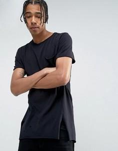 Удлиненная черная футболка с эффектом поношенности New Look - Черный