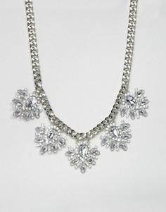 Ожерелье с цветами и стразами True Decadence - Серебряный
