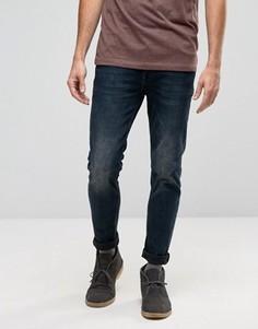 Черно-синие выбеленные джинсы скинни ASOS - Синий