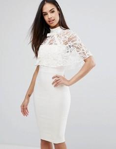 Платье-футляр 2-в-1 с кружевным кейпом Vesper - Кремовый