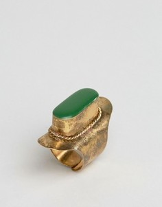 Броское кольцо с зеленым камнем Glamorous - Золотой