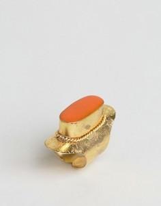 Броское кольцо с оранжевым камнем Glamorous - Золотой