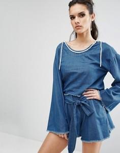 Топ-пуловер из ткани шамбре с необработанными краями Kendall + Kylie - Синий