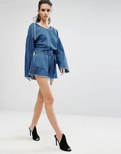 Шорты из ткани шамбре с необработанными краями Kendall + Kylie - Синий