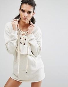 Платье-свитшот с длинными рукавами Kendall + Kylie - Кремовый