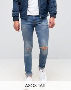 Супероблегающие джинсы с дырками на коленях ASOS TALL - Синий