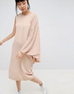 Платье миди с драпировкой сбоку ASOS WHITE - Коричневый