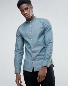 Рубашка с длинными рукавами и воротом на пуговице Selected - Синий