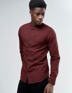 Фланелевая рубашка в клетку с воротником на пуговице Selected - Красный
