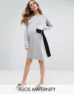 Платье-свитшот мини с D-образным кольцом на завязке ASOS Maternity - Серый