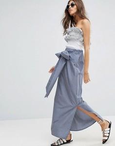 Полосатая юбка макси с бантом ASOS - Синий