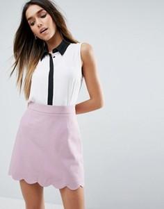 Блузка без рукавов с планкой контрастного цвета ASOS - Белый